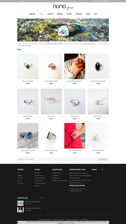 Diseño tienda online Nonogems Castellón productos