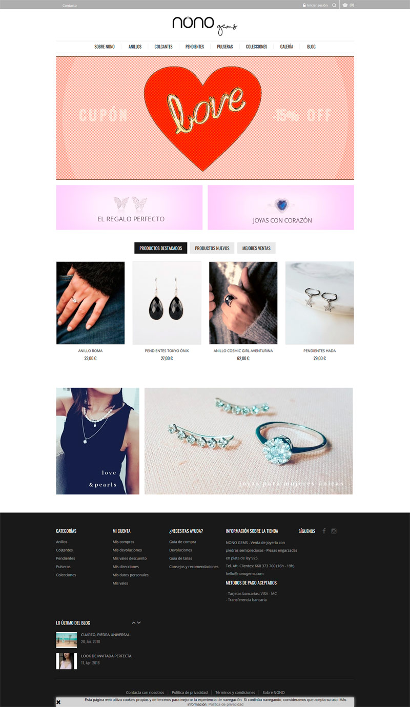 Diseño tienda online Nonogems Castellón