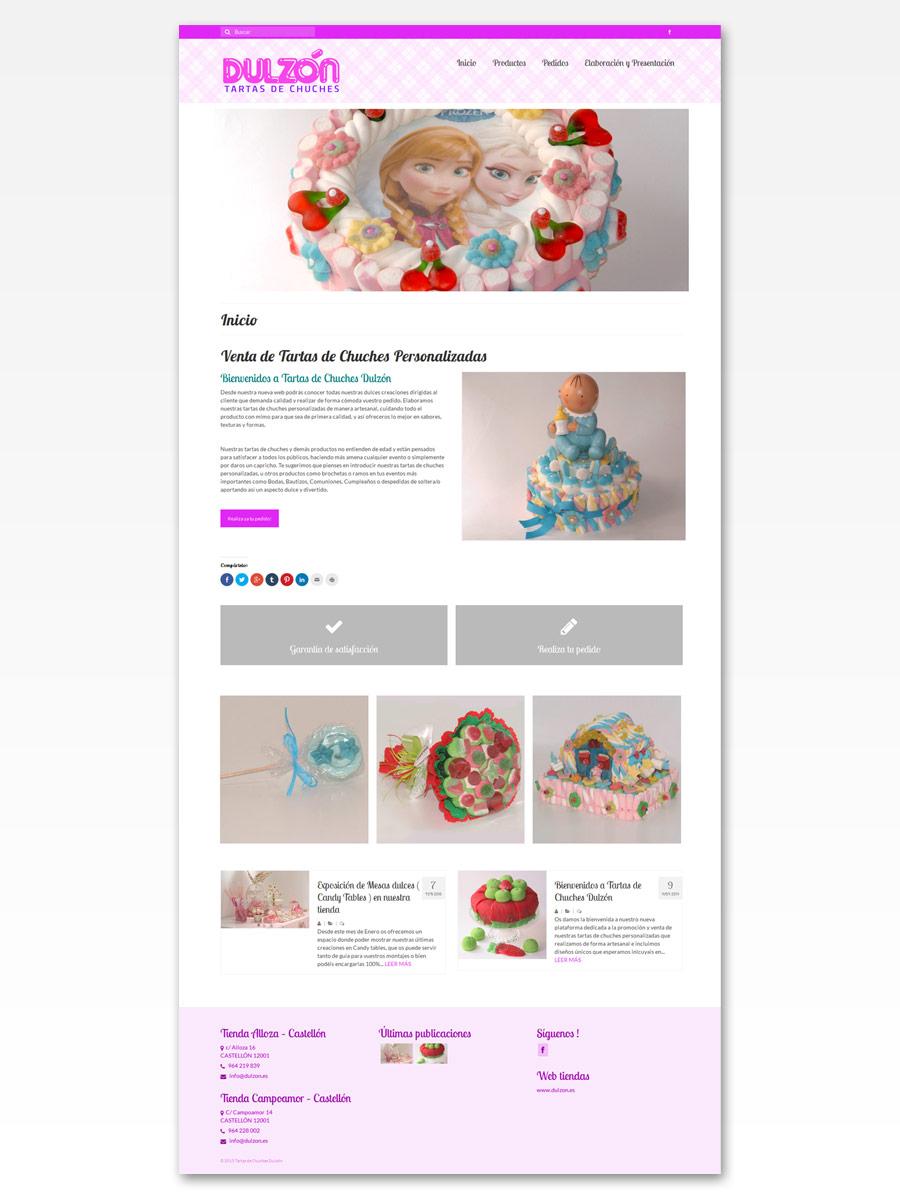 Tartas de chuches Dulzón diseño web